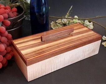 Jewelry Keepsake Box - Curly Maple, Zebrawood, Makore,  Box for Memorabilia,  Watch, Gem Stones