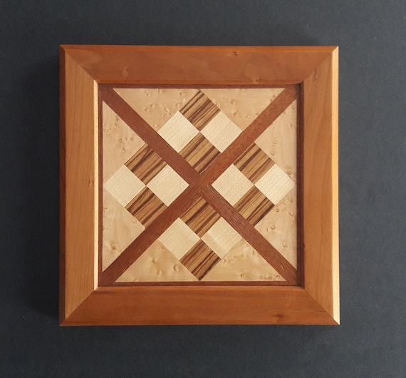 Criss Cross And Squares Quilt Block Framed Cherry Wall Art