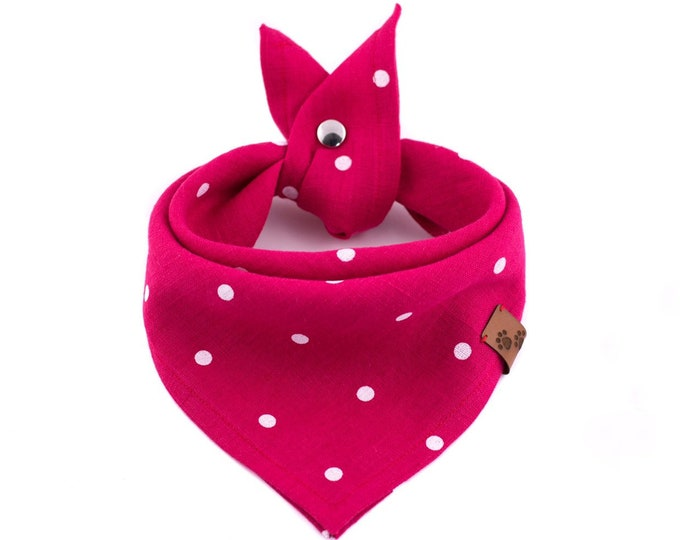 Naughty & Nice Bandana - Pink Dog Bandana, Summer Dog Bandana, Stylish Bandana, Tie On Bandana, Dots Dog Bandana, Snap On Bandana