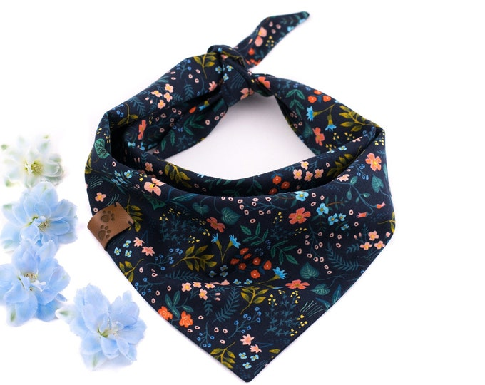 Hugo Bandana - Summer Dog Bandana, Floral Dog Bandana, Stylish Bandana, Tie On Bandana, Cotton Dog Bandana, Elegant Dog Bandana
