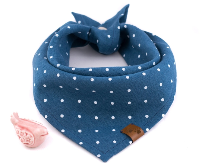 Singing' The Blues Bandana - Valentine's Dog Bandana, Blue Dog Bandana, Stylish Bandana, Tie On Bandana, Dots Dog Bandana, Snap On Bandana