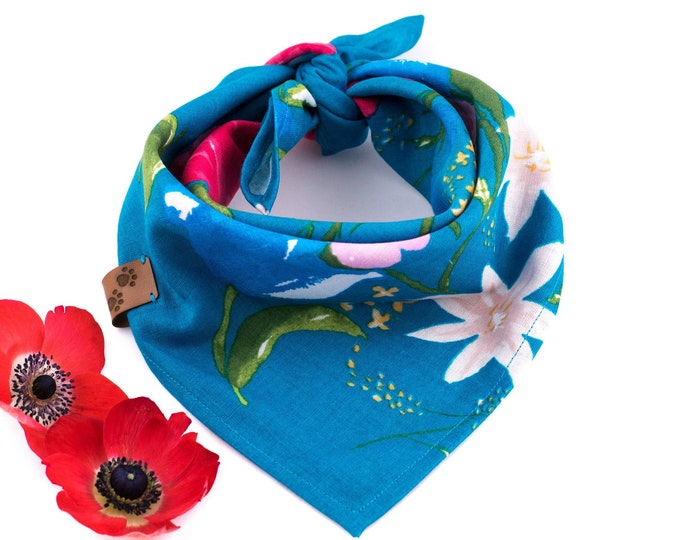 Amy Bandana - Summer Dog Bandana, Floral Dog Bandana, Stylish Dog Bandana, Tie On Bandana, Blue Dog Bandana, Flower Dog Bandana, Dog Wear