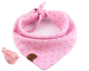 Little Hearts Pink Bandana - Valentine's Dog Bandana, Pink Dog Bandana, Stylish Bandana, Tie On Bandana, Hearts Dog Bandana, Spring Bandana