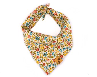 Flower Canvas - Tie On Dog Bandana, Dog Bandanas, Flower Dog Bandana, Dog gift, Summer Dog Bandana, Spring Dog Bandana, Floral Dog Bandana
