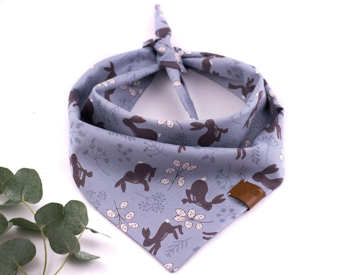 Bavaria Bandana - Spring Dog Bandana, Rabbits Dog Bandana, Tie On Bandana, Blue Dog Bandana, Forest Dog Bandana, Cute Dog Bandana