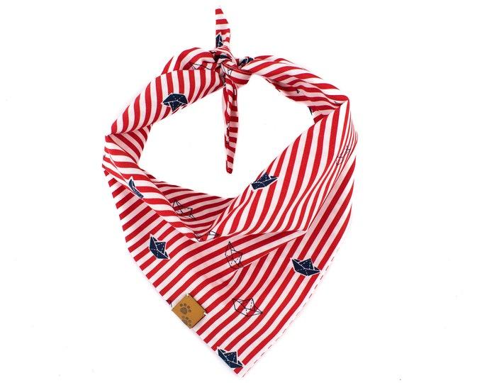La Croisette - Summer Dog Bandana, Tie On Dog Bandana, Dog Bandanas, Nautical Dog Bandana, Dog gift, Red Dog Bandana, Stripes Dog Bandana