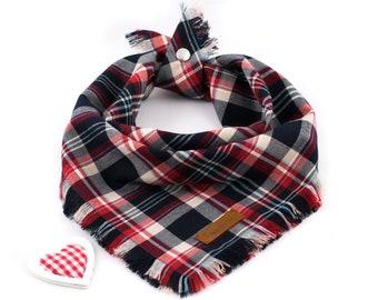 Hearty Brit Bandana - Fall Dog Bandana, Autumn Dog Bandana, Plaid Dog Bandana, Flannel Dog Bandana, Tartan Bandana, Snap On Bandana