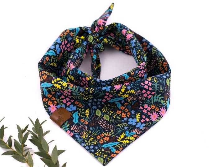 Black Forest Bandana - Spring Dog Bandana, Floral Dog Bandana, Tie On Bandana, Flower Dog Bandana, Forest Dog Bandana, Stylish Dog Bandana