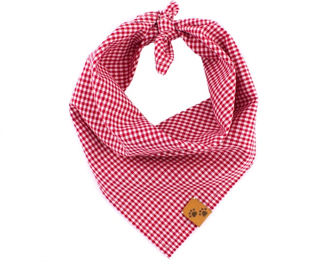 Mini Gingham Red - Summer Dog Bandana, Tie On Dog Bandana, Dog Bandanas, Plaid Dog Bandana, Dog gift, Stylish Dog Bandana, Gingham Bandana