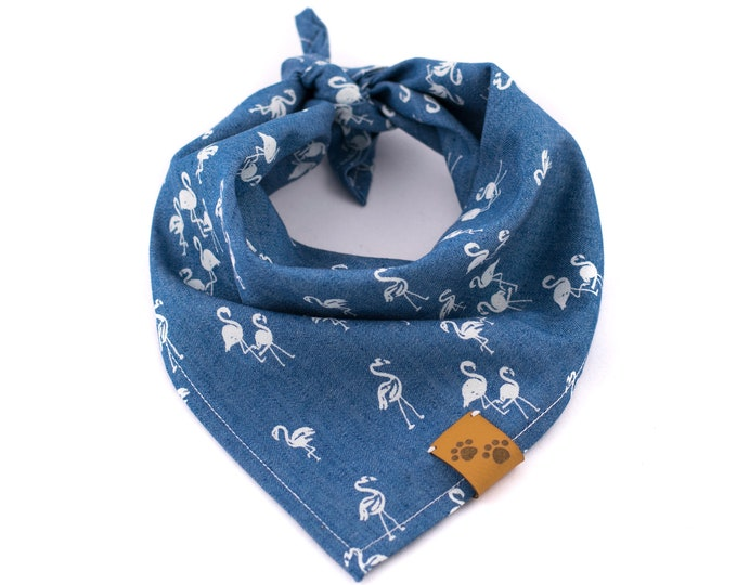 Flamingo Bandana - Denim Dog Bandana, Flamingo Dog Bandana, Stylish Dog Bandana, Tie On Bandana, Blue Dog Bandana