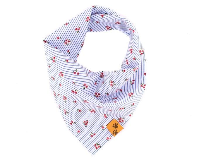 Fresh Summer Morning - Summer Dog Bandana, Tie On Dog Bandana, Dog Bandanas, Flower Dog Bandana, Dog gift, Floral Dog Bandana, Blue Bandana