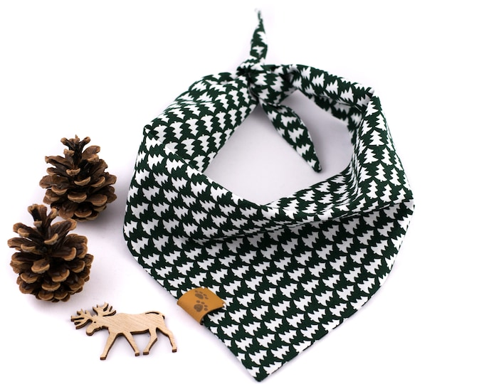 Alpine Green Bandana - Fall Dog Bandana, Autumn Dog Bandana, Stylish Bandana, Tie On Bandana, Winter Dog Bandana, Forest Dog Bandana