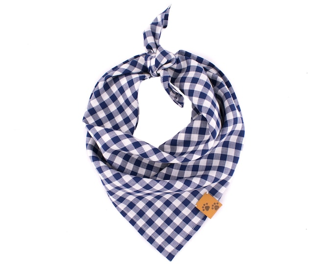 Navy Gingham - Dog & Human Matching Bandana - Summer Dog Bandana, Tie On Dog Bandana, Gingham Dog Bandana, Dog gift, Stylish Bandana