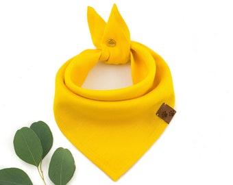 Sunny Day Bandana - Summer Dog Bandana, Yellow Dog Bandana, Stylish Bandana, Tie On Bandana, Linen Dog Bandana, Snap On Bandana, Dog gift