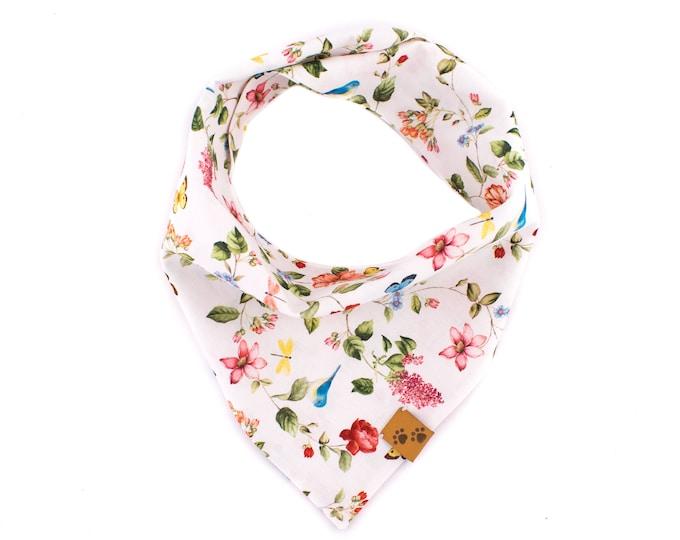 Idyllic Garden - Summer Dog Bandana, Tie On Dog Bandana, Dog Bandanas, Flower Dog Bandana, Dog gift, Floral Dog Bandana, Stylish Dog