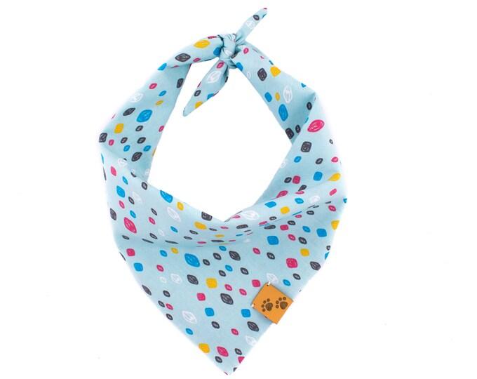 Pool Party - Summer Dog Bandana, Tie On Dog Bandana, Dog Bandanas, Blue Dog Bandana, Dog gift, Dotty Dog Bandana