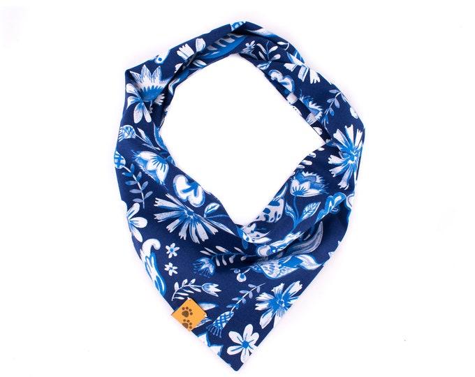 Aqua Flowers - Summer Dog Bandana, Tie On Dog Bandana, Dog Bandanas, Floral Dog Bandana, Dog gift, Blue Dog Bandana, Flower Dog Bandana