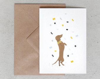 Alfie's Greetings Confetti - Dog Greeting Card, Dachshund Greeting Card, Happy Barkday, Dog Birthday, Dog Greetings, Dog Cards