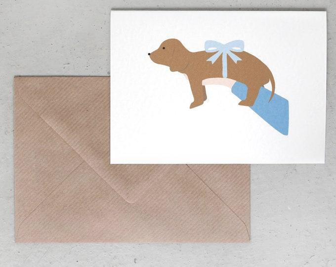 Alfie's Greetings Hello Puppy - Dog Greeting Card, Dachshund Greeting Card, Happy Barkday, Dog Birthday, Dog Greetings, Dog Cards, New Puppy