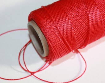 1 mm TWISTED RED Cord = 1 Spool = 110 Yards = 100 Meters of Elegant Polypropylene Rope for Macrame Sewing Crocheting Yarn Knitting Thread