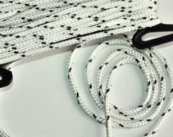 6 mm Braided Cord = 1 Spool = 11 Yards = 10 Meters Elegant Rope white with black points cord Drawstring Cord Polyester Bulky Rope Bracelets