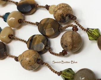 Vintage Necklace Tigereye Picture Jasper and Agate Gemstone Necklace Semiprecious Gift For Women