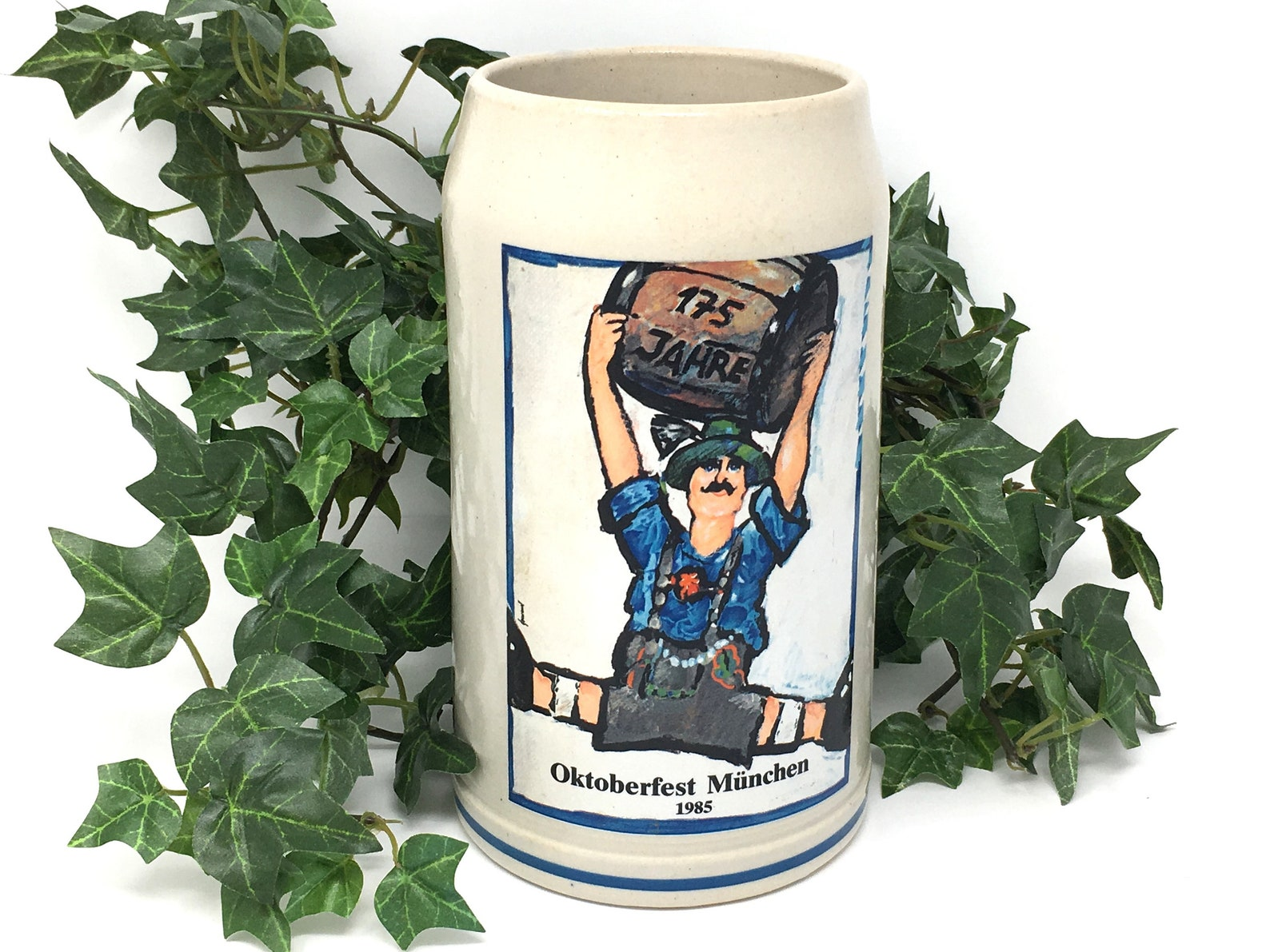Vintage German beer stein 1985 Oktoberfest Munchen beer mug from Munich Germany tankard, man cave gift, barware decor