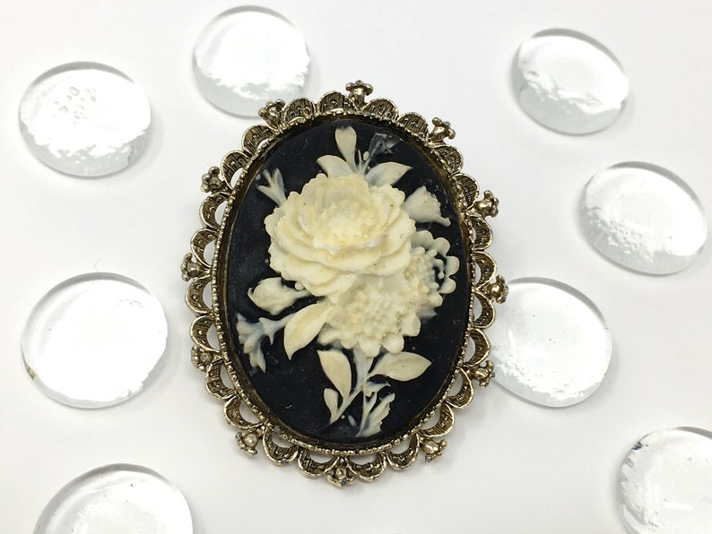 3d046a48584 Rose cameo brooch vintage cameo pendant signed Gerrys black   Etsy