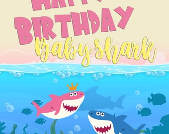 Baby Shark Party Backdrop Birthday Kids Decorations