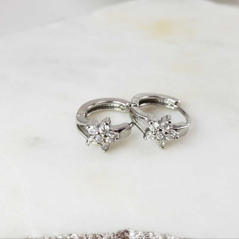 Crystal Flower Earring \u2022 Flower Hoop Earrings \u2022 Sterling Silver \u2022 Silver Plated Hoops \u2022 Clear Gemstones \u2022 Crystal studs earrings