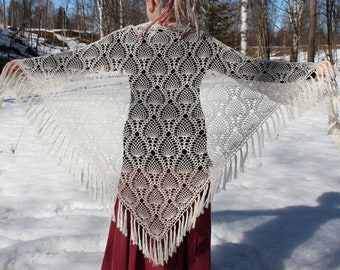 Crochet lacy shawl with tassels | off-white | alpaca, silk