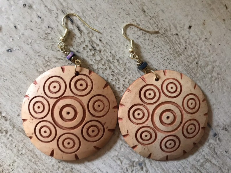 Wooden Disc Earrings Boho Earrings Hand Carved Earrings