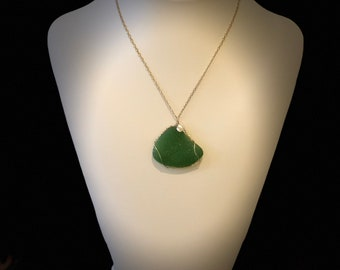 Handmade Green Beach Glass 16 1/4 Inch Necklace with Keshi Pearl and Gold-Fill Chain