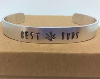 Best Buds with Pot Leaf Cuffed Bracelet