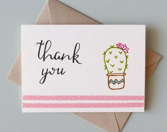 Blank Succulent Thank You Card