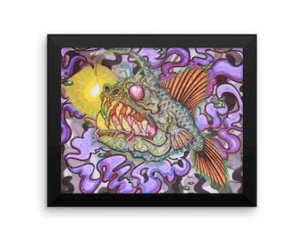 Framed photo paper poster, Angler fish