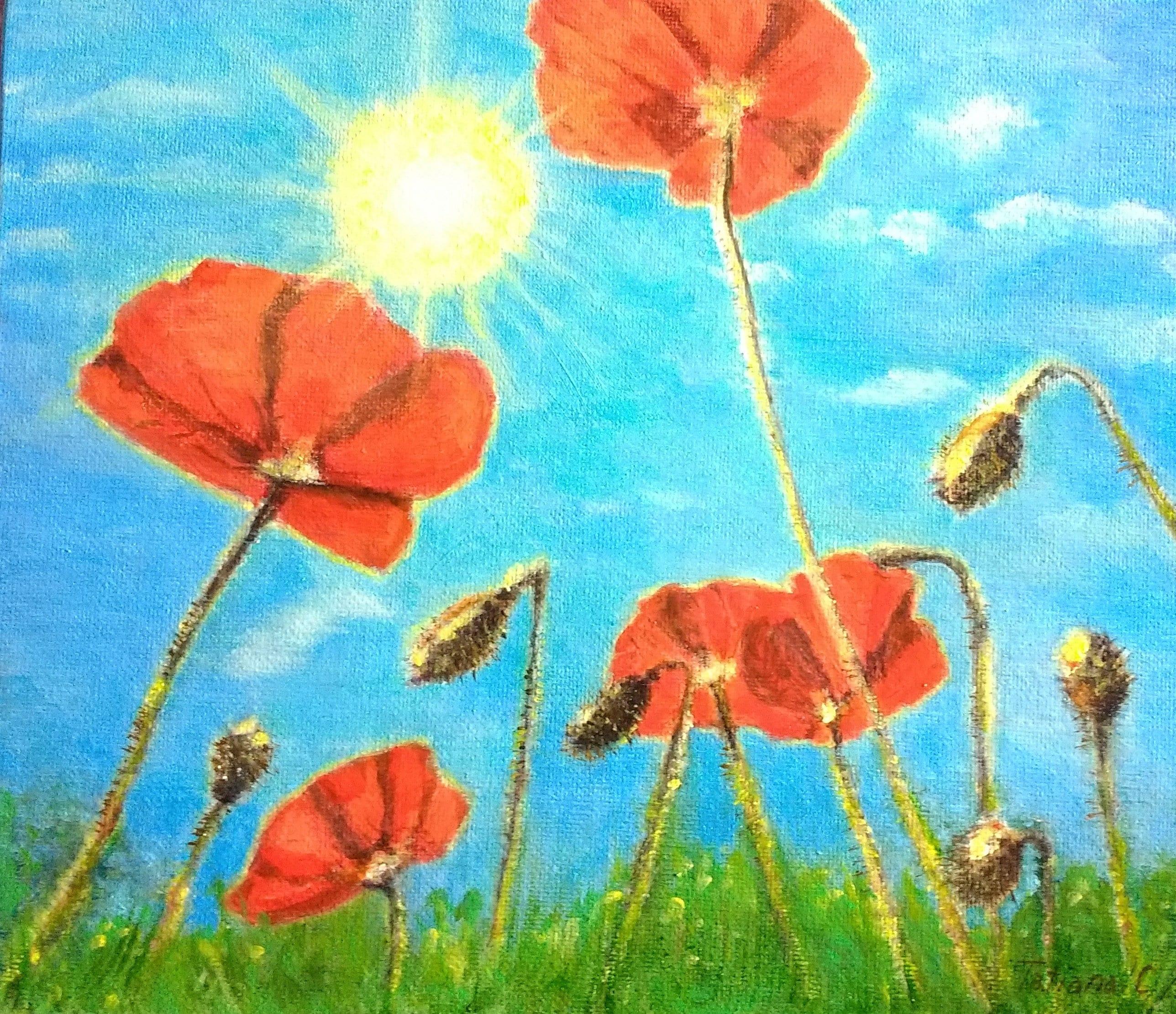 Flower Painting Flower Painting Poppy Painting Etsy