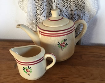 Charming teapot with creamer in French style around 1930