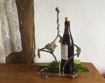 Vintage metal bottle holder for 2 bottles vines sheet décor French table bottles holder wine rack 30s