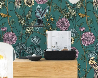 Removable Wallpaper Self Adhesive Vintage Floral And Birds Peel Stick