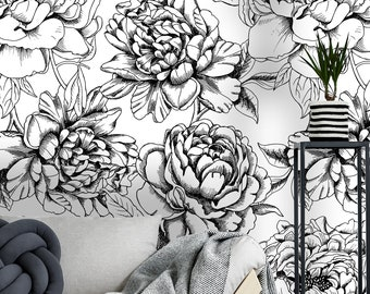 Black and white wallpaper etsy removable wallpaper self adhesive wallpaper large black and white peony flowers peel stick wallpaper wallpaper mural mightylinksfo