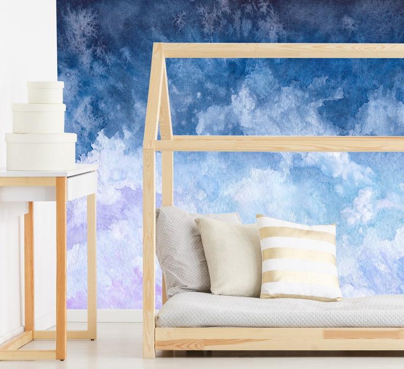 Abnehmbarer selbst selbstklebende Tapete Aquarell Wolken Peel and Stick  Tapete Kinderzimmer Tapete Tapete Wandbild