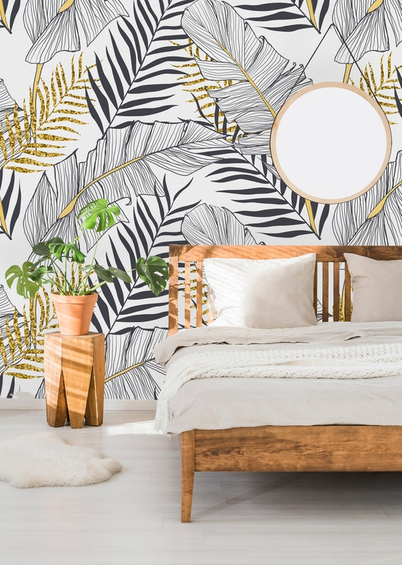 Removable Wallpaper Self Adhesive Wallpaper Tropical Gold Etsy