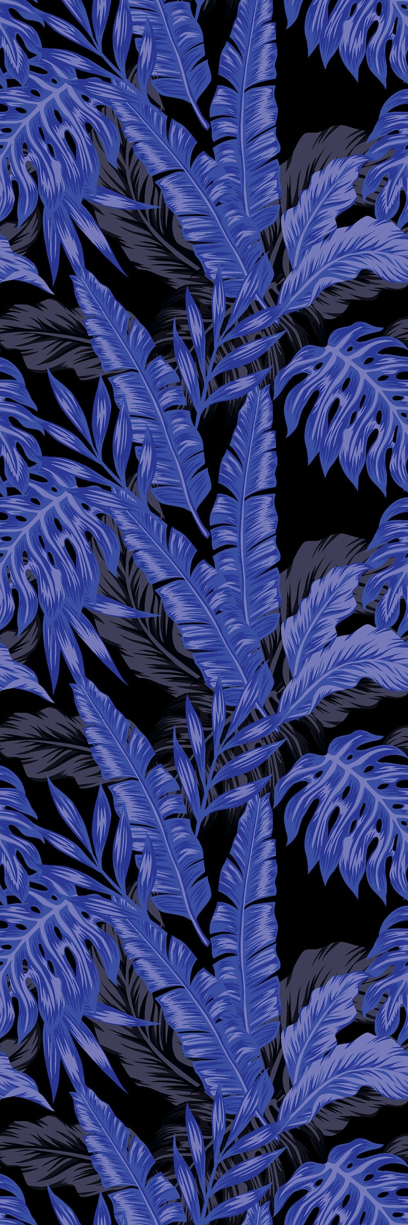 Removable Wallpaper Self Adhesive Wallpaper Purple Tropical Leaves on Black Background Peel /& Stick Wallpaper