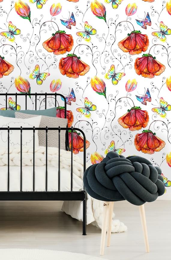 Removable Wallpaper Mural Peel /& Stick Nursery Wallpaper Self Adhesive Wallpaper Vintage Poppy Flowers and Butterflies