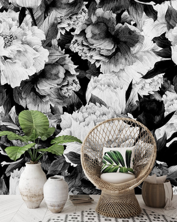 Removable Wallpaper Self Adhesive Wallpaper Vintage Black And White Large Flowers Peel Stick Wallpaper Wallpaper Mural