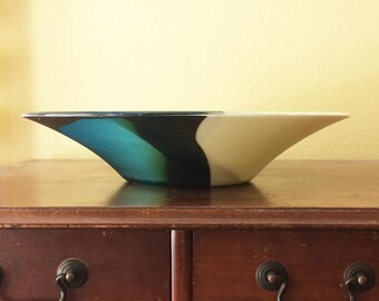 """14"""" fused glass bowl in Vanilla/Chocolate/Teal"""