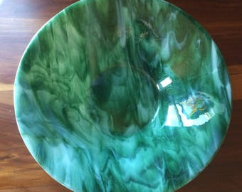 """14"""" fused glass bowl in Green/White"""