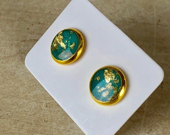 Beautiful, shimmery turquoise and gold studs