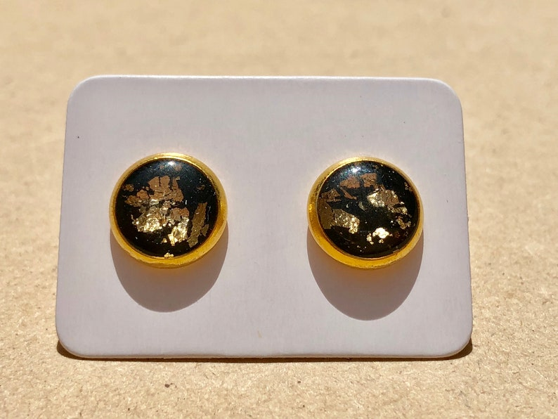 1ac696352 Beautiful black and gold sparkly stud earrings | Etsy